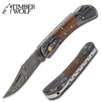 Timber Wolf File Worked Damascus Folding Pocket Knife