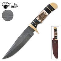 Timber Rattler Colorado Hunter Damascus Knife & Leather Sheath