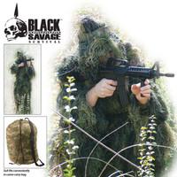 Black Savage Ghillie Suit 5-Pc.Woodland Camo