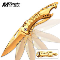 MTech Ballistic Assisted Opening Gold Tactical Folding Knife