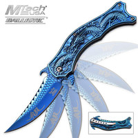 Iridescent Blue Flying Dragon Assisted Opening Folding Pocket Knife