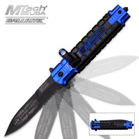MTech Ballistic Law Enforcement Assisted Opening Resuce Pocket Knife With LED Light