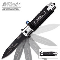 MTech Ballistic Emergency Rescue Assisted Opening Pocket Knife With LED Light