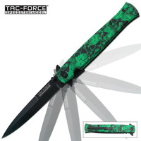 Tac Force Green Skull Folding Pocket Knife
