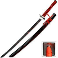Blood Warrior Black Katana Sword With Scabbard