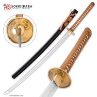 Sokojikara T10 Samurai Sword with Brown Wrap and Black Scabbard SJ006