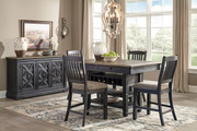 Tyler Creek Black/Gray Pc. Rectangular Counter Height Dining Set