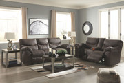 Boxberg Teak Reclining Power Sofa & Double Reclining Power Loveseat with Console