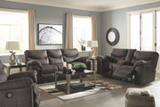 Boxberg Teak Reclining Power Sofa, Double Reclining Power Loveseat with Console & Power Rocker Recliner