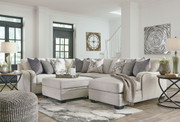 Dellara Chalk LAF Loveseat, Wedge, Armless Loveseat, RAF Corner Chaise Sectional & Ottoman With Storage