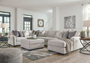 Dellara Chalk LAF Loveseat, Wedge, Armless Loveseat, Armless Chair, RAF Corner Chaise Sectional & Ottoman with Storage