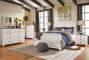 Willowton Whitewash 6 Pc. Dresser, Mirror, Chest & Queen Sleigh Bed