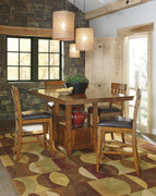 Ralene Medium Brown 5 Pc. Rectangular Dining Room Counter Extension Table & 4 Upholstered Barstools