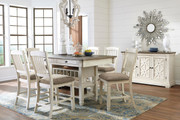 Bolanburg Antique White 8 Pc. Rectangular Dining Room Counter Table, 6 Upholstered Barstools & Dining Room Server