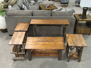Solid Hickory Occasional Group with Hand Hewn Maple Tops