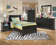 Maribel Black 6 Pc. Dresser, Mirror, Chest & Twin Panel Bed
