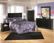 Maribel Black 6 Pc. Dresser, Mirror, Chest, Full Panel Headboard & 2 Nightstands