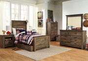 Trinell Brown 6 Pc. Dresser, Mirror & Twin Panel Bed with Trundle Storage Box