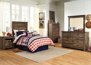 Trinell Brown 4 Pc. Dresser, Mirror, Twin Panel Headboard Bed & 2 Nightstands