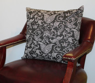 Black Floral Paisley Pillow Cover 18""