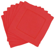 Hemstitch Cocktail Napkins - Red 6x6