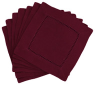 Hemstitch Cocktail Napkins - Burgundy 6x6