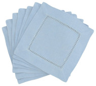Hemstitch Cocktail Napkins - Sky 6x6
