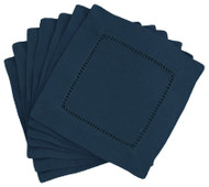 Hemstitch Cocktail Napkins - Navy 6x6