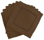 Hemstitch Cocktail Napkins - Brown 6x6