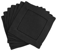 Hemstitch Cocktail Napkins - Black 6x6