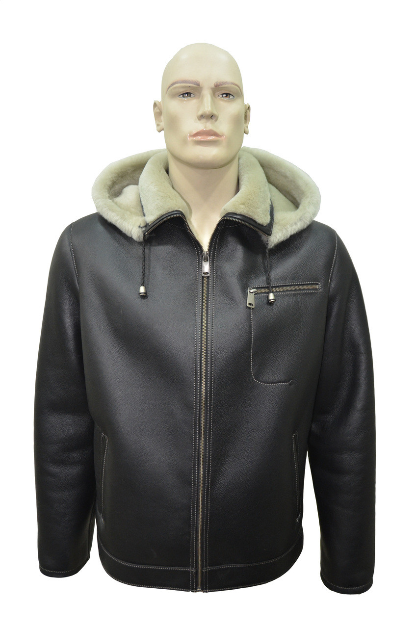6dbe5216c6c3c Men s Genuine Shearling Sheepskin Aviator Bomber Hooded Winter Jacket