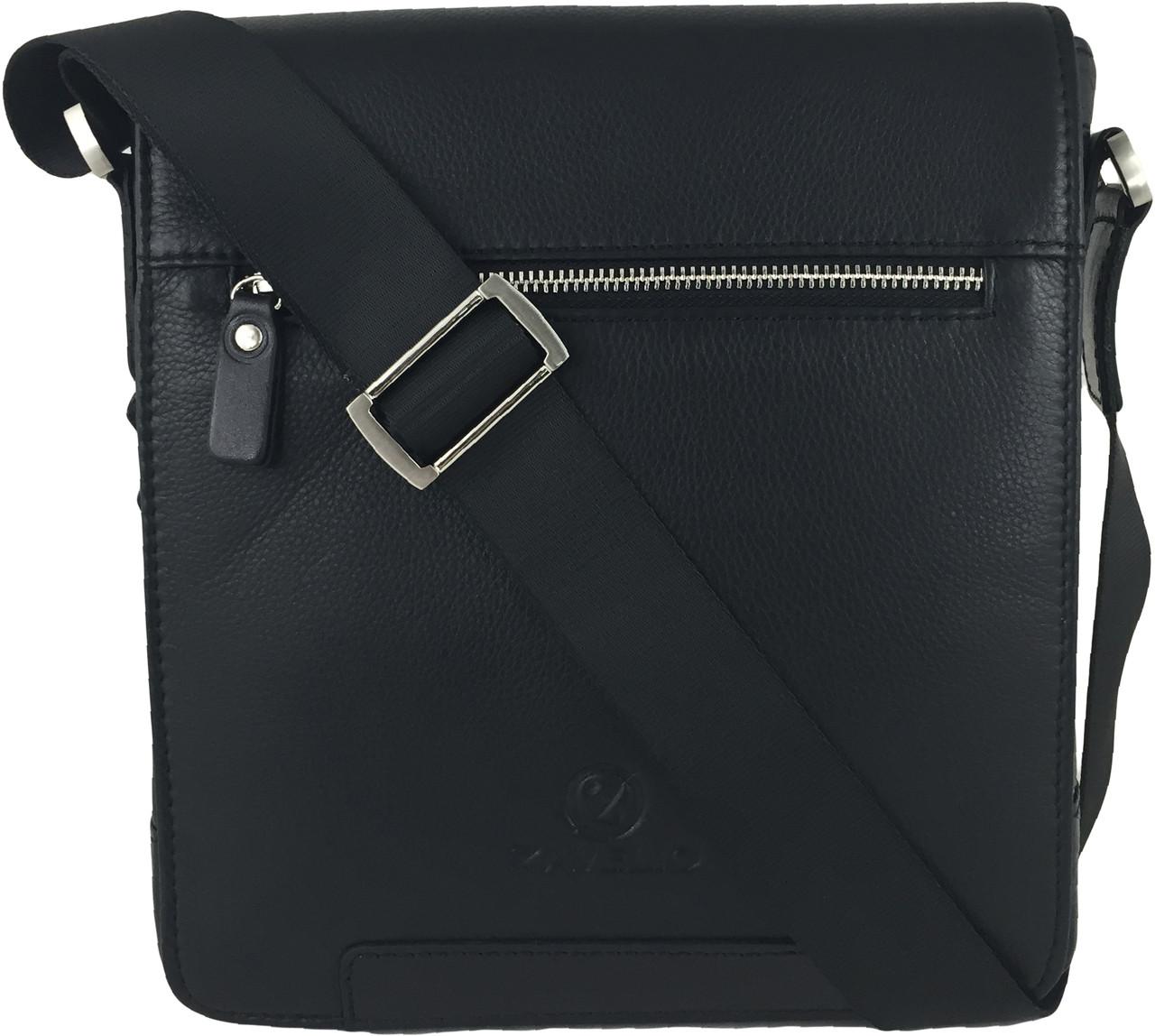 Zavelio Men s Genuine Leather Small Crossbody Shoulder Messenger Bag - Black   74974bdef59ba