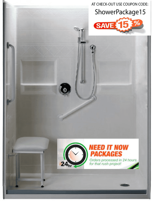 60 X 30 Walk in Shower Package 24 hour shipping and 15% off!