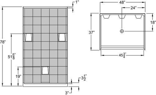 36 x 48 shower stall 3 inch threshold made in usa for Walk in shower plans and specs
