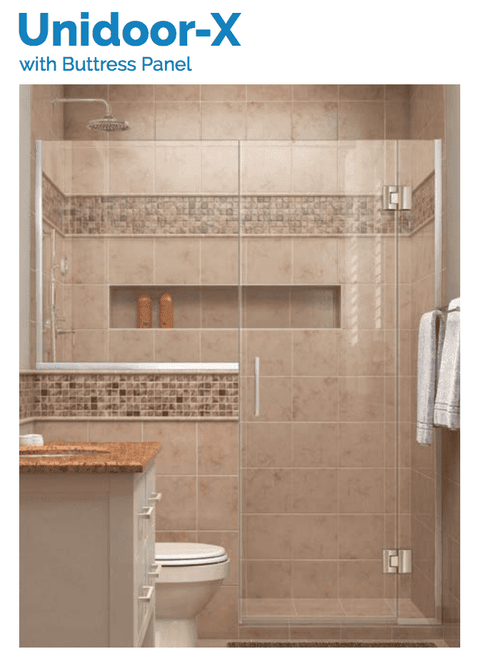 DreamLine Unidoor-X | 59 to 59-1/2 x 72 Hinged Shower Door | Chrome