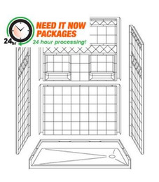 60 x 30 Roll-in Shower PACKAGE | 24hr Quick Ship