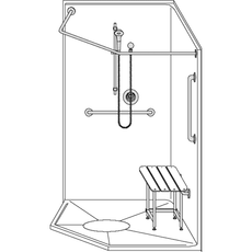 42 x 42 Neo Angle Shower Stall | One Piece (LSNS4242RB15T)