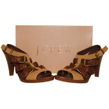 J.Crew Wyatt Buckle Cone Heels Leather & Canvas Size: 9