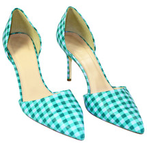 PRE-OWNED J. CREW ELSIE GINGHAM D'ORSAY LEATHER PUMPS (9) $278