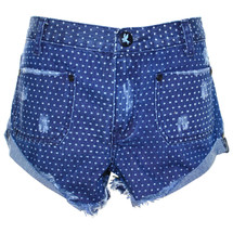 Pre-owned One Teaspoon Sailor Denim Shorts Blue PolkaDots (26)