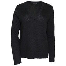 Pre-Owned J. Crew V-neck sweater with leather panels Black (S)