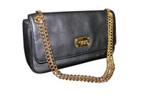 Pre-Owned Michael Kors Jet Set Chain Leather Flap Shoulder Bag Black