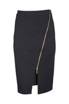 Pre-Owned Michael Kors Black Pencil Skirt with Gold Zipper (6)
