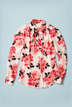 Kate Spade Rosa Tie Neck Shirt  Pink Floral Roses (M)