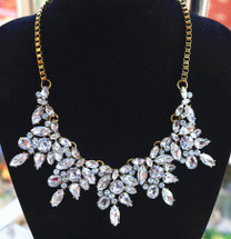 Sole Vintage Crystal Flower Statement Necklace