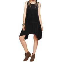 Free People Embossed Polka-Dot Lace-Inset Dress Black