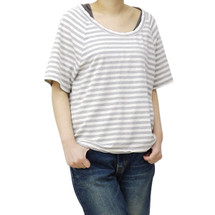 JAMES PERSE T-SHIRT TOP GRAY STRIPED SCOOP NECK