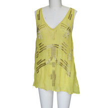 Free People Embroidered Sheer Tanktop Mustard (S)