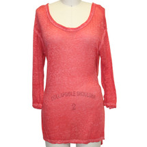 FREE PEOPLE Red We The Free By Distressed Off Tunic Size: Xsmall Top