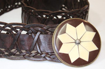 RARE Moroccan Leather Woven Wide Belt